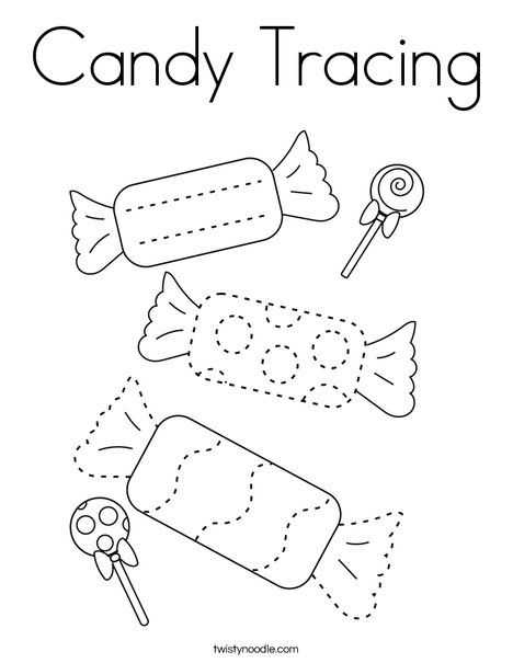 Candy Tracing Coloring Page - Twisty Noodle | Tracing ...