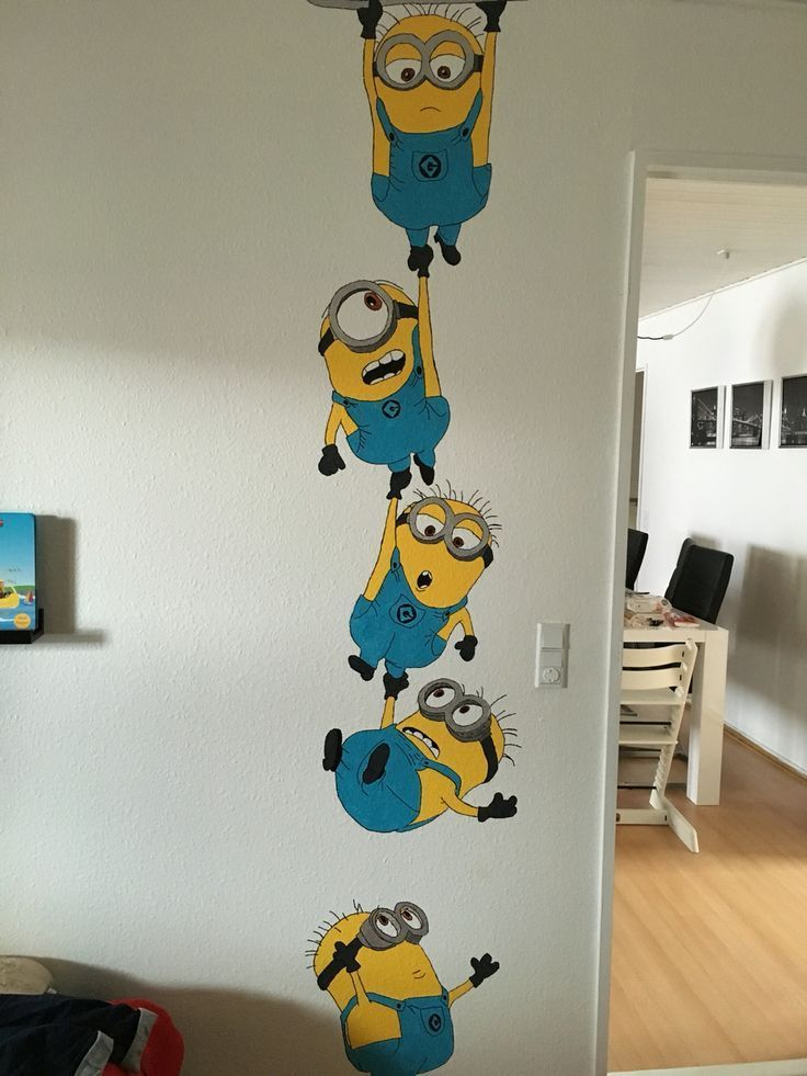 Minion Paint On The Wall Minion Paint Wall Wandmalereiideen In 2020 Wall Art Diy Paint Diy Wall Painting Wall Paint Designs