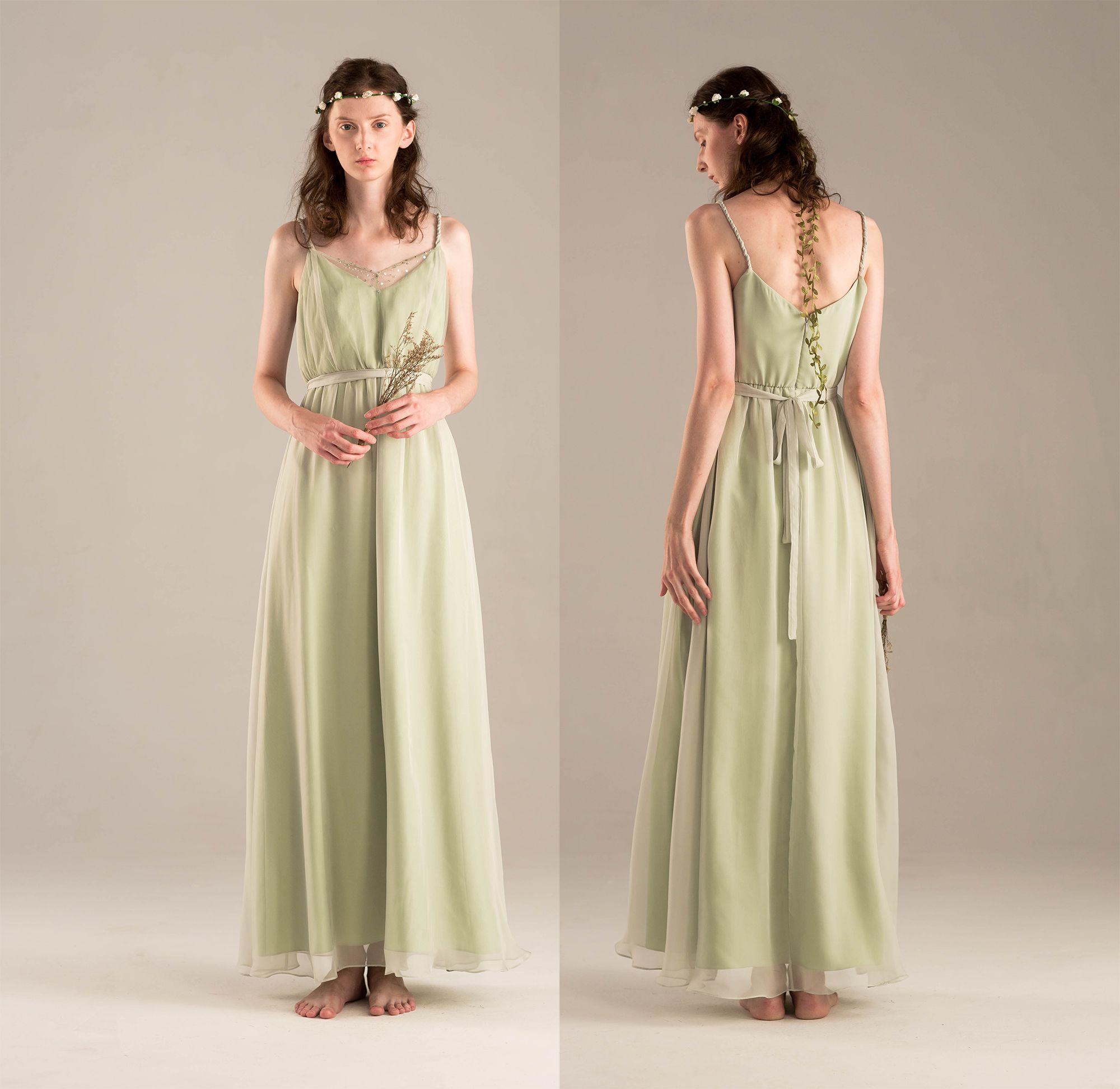 Dusty shale bridesmaid dress spaghetti strap chiffon wedding dress