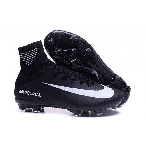 49ff0c00a52ee Chuteira Society Nike Mercurial Superfly V Campo FG Homens Preta Branca