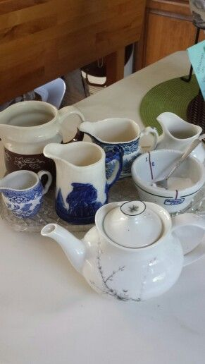 My afternoon tea..w pitchers from family membets..like having tea w an old friend..love family china bits n pieces