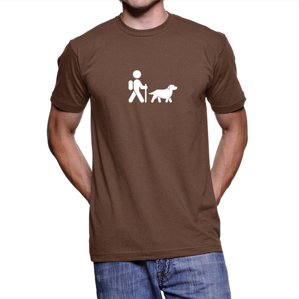 Hiker With Golden Retriever Men's Cotton T-Shirt
