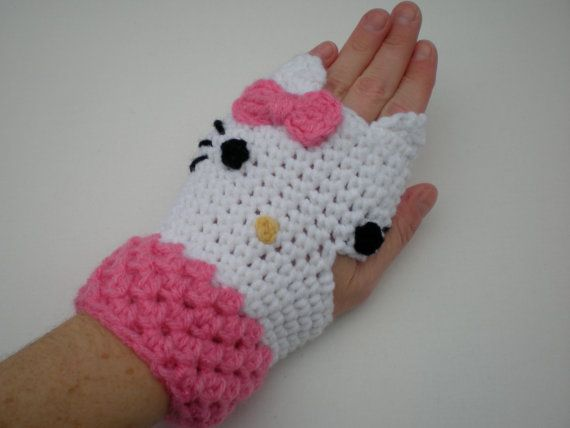 Free Hello Kitty Knit Hat Pattern : Pattern Kitty Gloves Fingerless Mittens toddler kid by swellamy, USD5.00 Croc...
