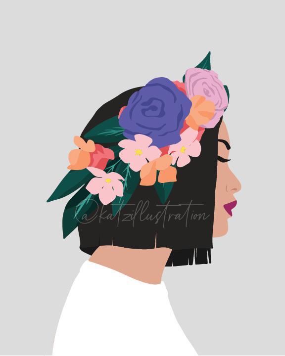 Digital art print / floral illustration
