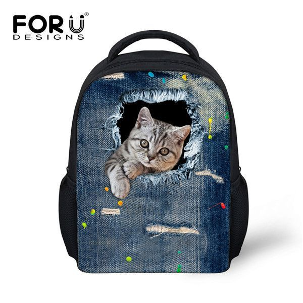 2a1460e30098 Cute Mini Backpacks for small Children with 3D Animals and Pets.  FORUDESIGNS Children Fashion Shoulder Backpack Cute 3D Cat Kids School ...