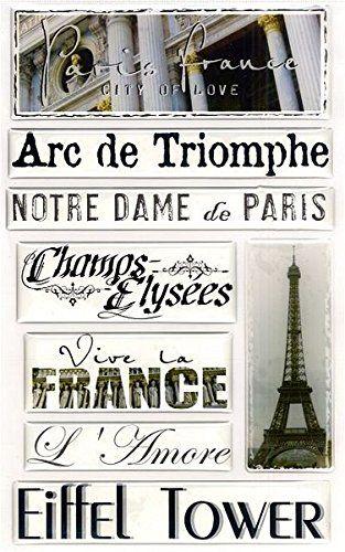 Creative Imaginations Epoxy Stickers Paris France Eiffel Tower Scrapbooking