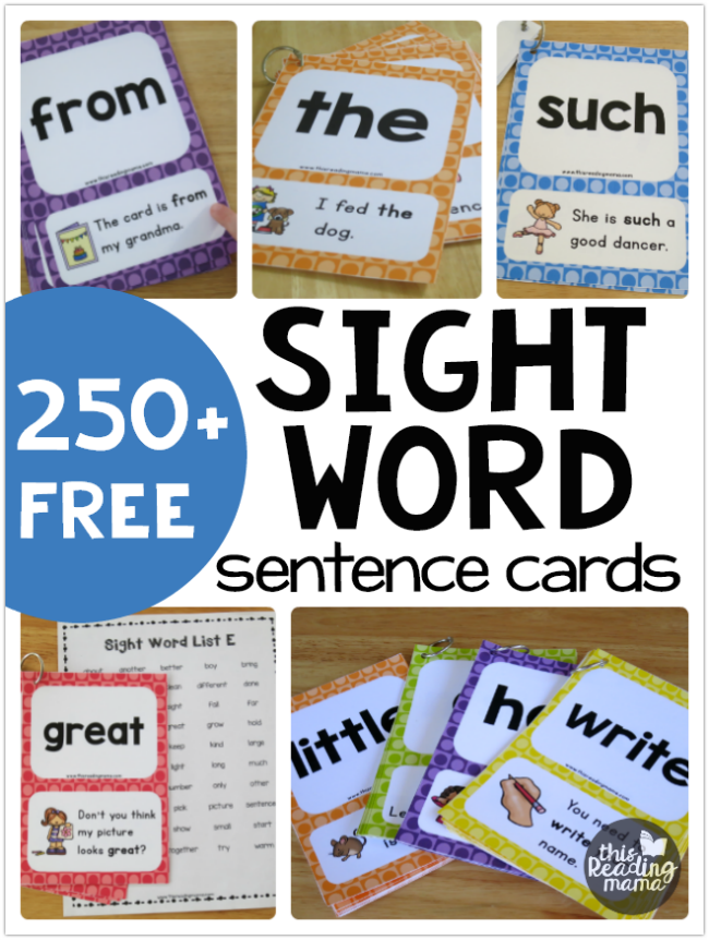 250+ FREE Sight Word Sentence Cards using Dolch +