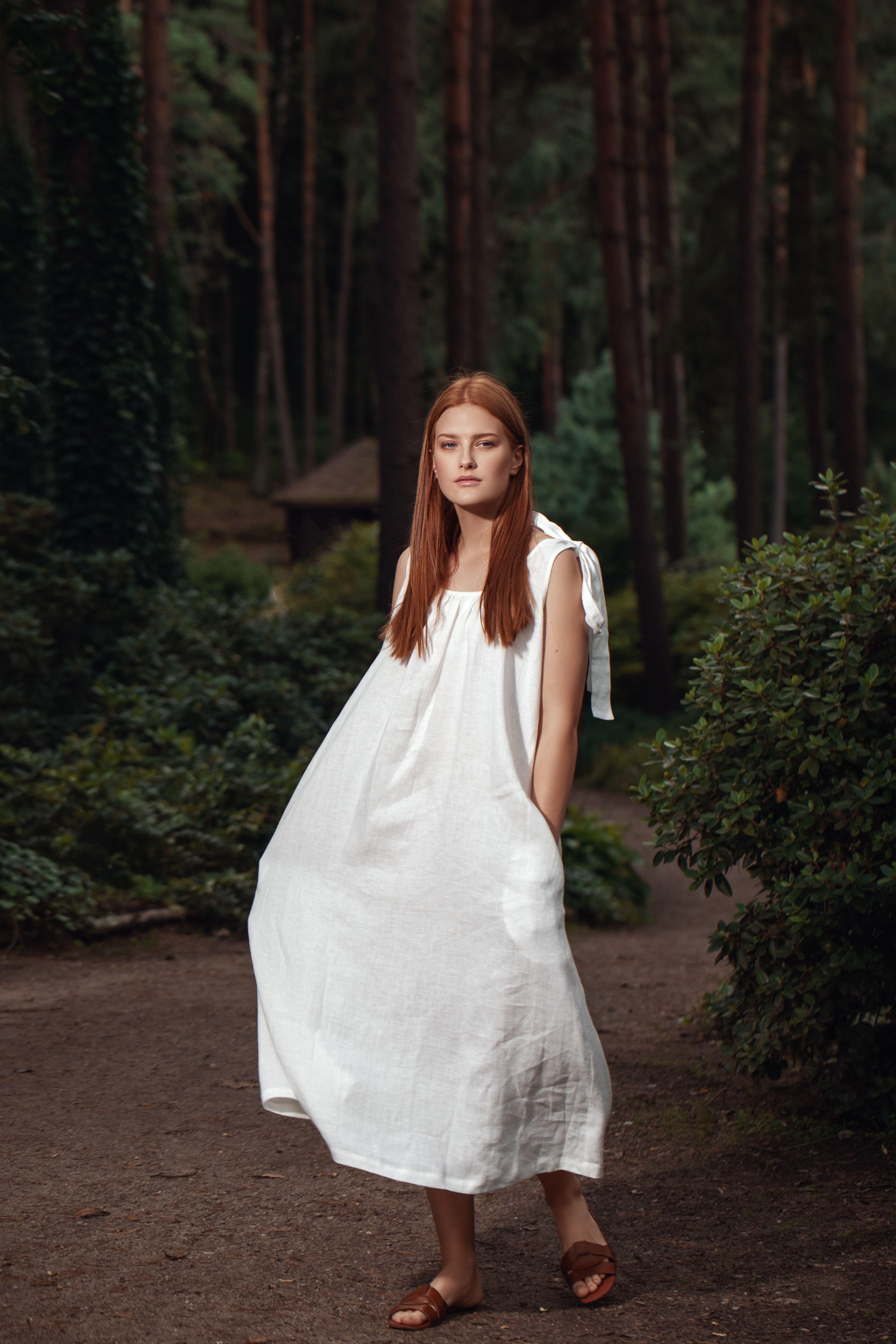 Maxi Linen Dress Preila Long White Linen Dress With Ties Etsy Linen Maxi Dress Dresses White Linen Dress Summer [ 6071 x 4047 Pixel ]