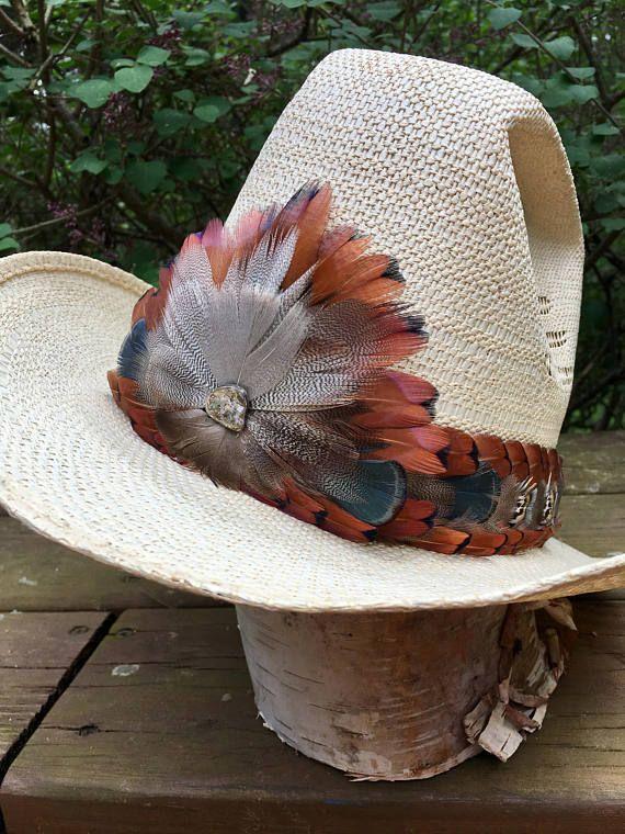 2c5789d429cef Vintage 1970s-80s feather hat band-Ringneck Amherst Pheasant