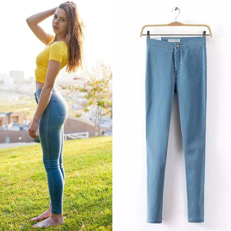 ae2289be8013c 2017 New Straight High Waist Women Jeans Femme Girl Pencil Pants Sexy Slim  Female Skinny Pant For Lady Plus Size Mom Trousers