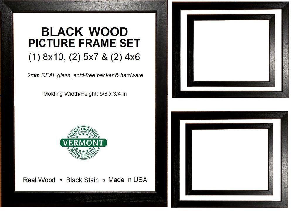 Black Picture Frame Set Photo Frame Set Wood 1 8x10 2 5x7 2