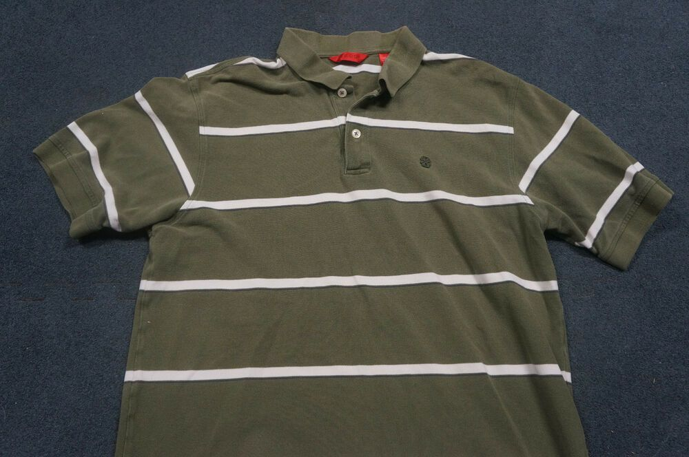 IZOD Mens Regular L Large Rugby Polo Green White