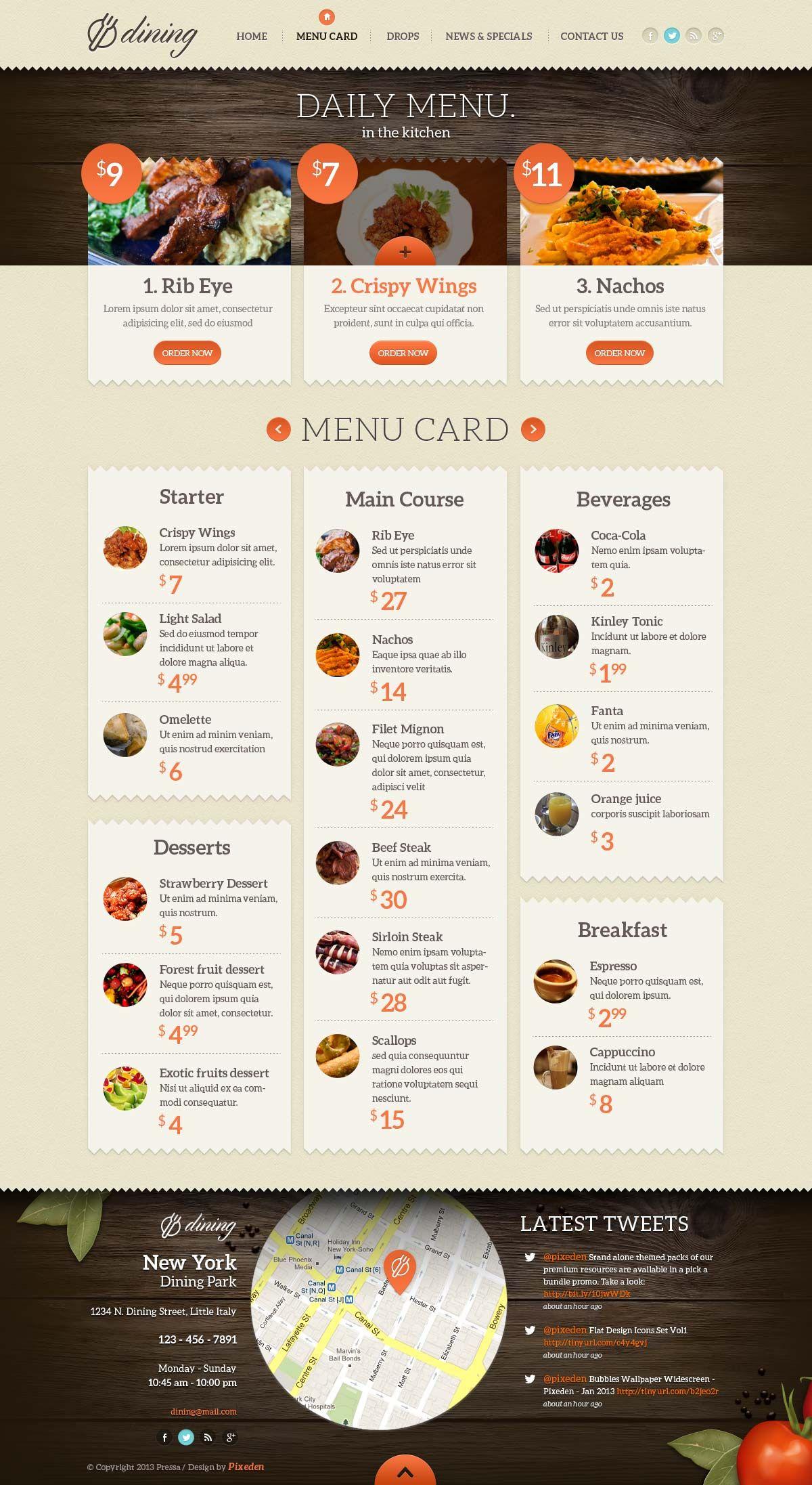 Dining Restaurant Psd Template | Psd Web Templates | Pixeden