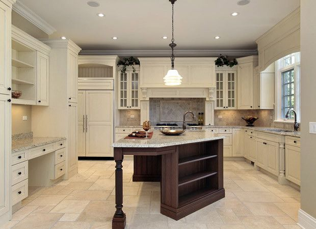 Varied Tile Floor In Kitchen With Ivory Cabinets Antique White Kitchen Cabinets Building A Kitchen Kitchen Design Gallery