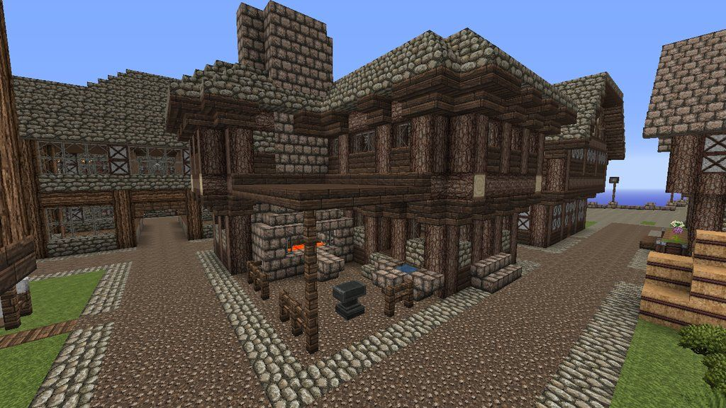 Minecraft Blacksmith Forge on Minecraft Cobblestone House Designs