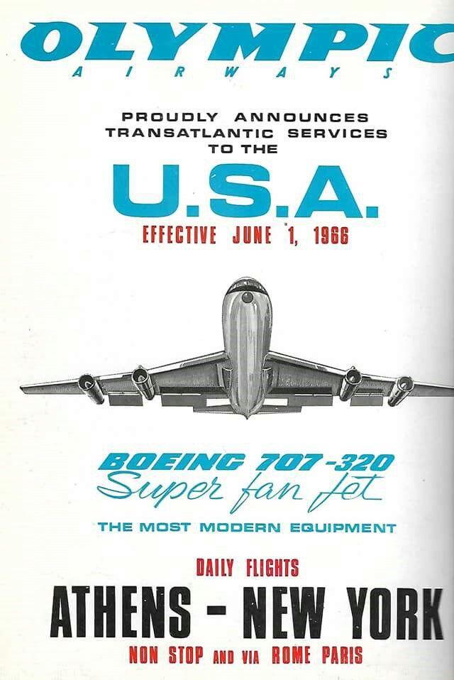 Olympic Airways Boeing B707-320, USA, Athens-New York, 1966