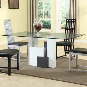 Shelley Rectangular Glass Top Dining Table   Contemporary   Dining Tables    Modern Furniture Warehouse
