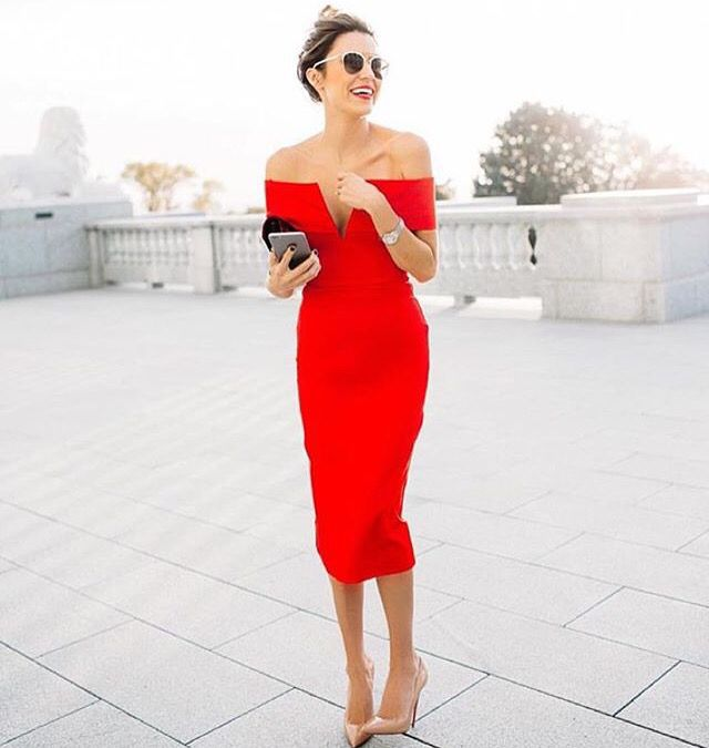 Red dress with nude shoes is the perfect combo | Fashion I need ...