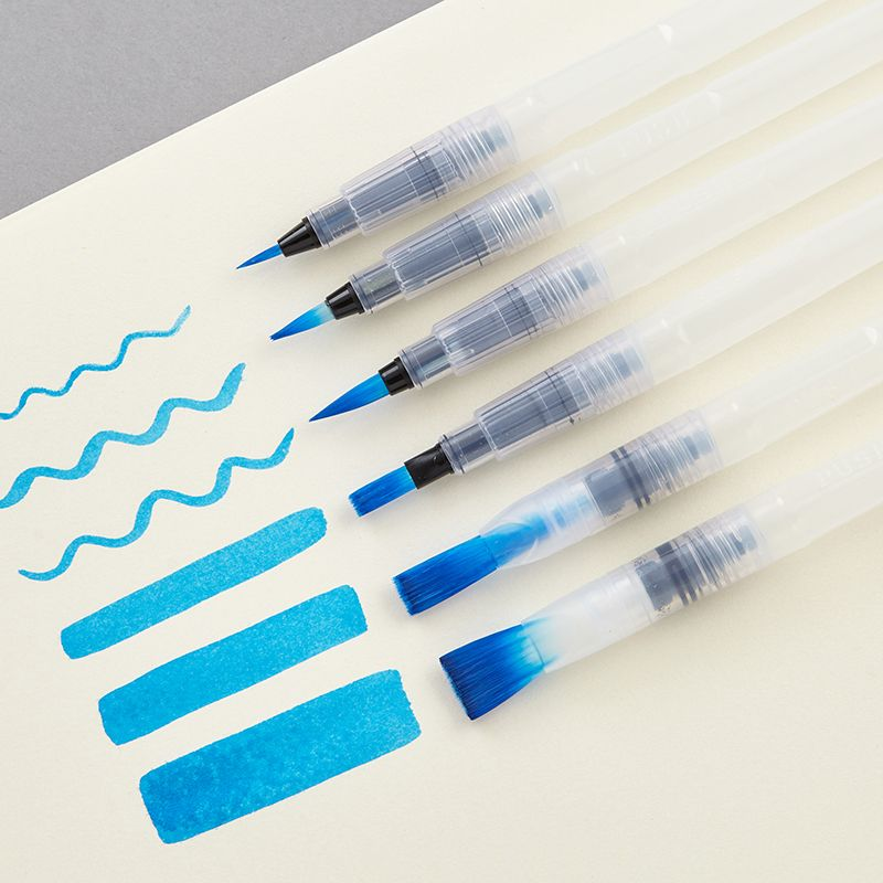 6 Pcs Refillable Pilot Paint Brush Water Color Brush Pencil Soft