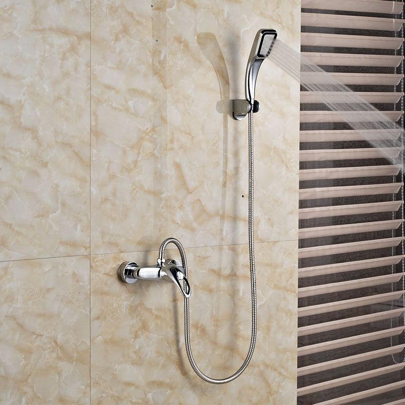 Polished Chrome Shower Faucet Handheld Shower Mixer Taps Single