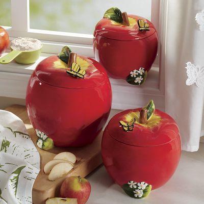 Pin By Christine Burkhardt On Apple Canister Set Apple Kitchen Decor Apple Decorations Apple