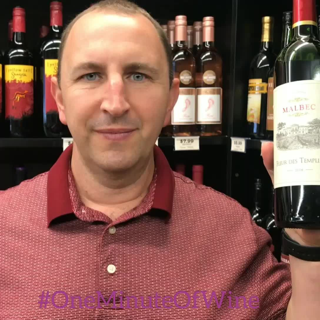 Welcome To Oneminuteofwine Today We Have Fleur Des Templiers Malbec This Malbec Is Brought To You From France No Video Wine And Liquor Buy Wine Wine Club Monthly