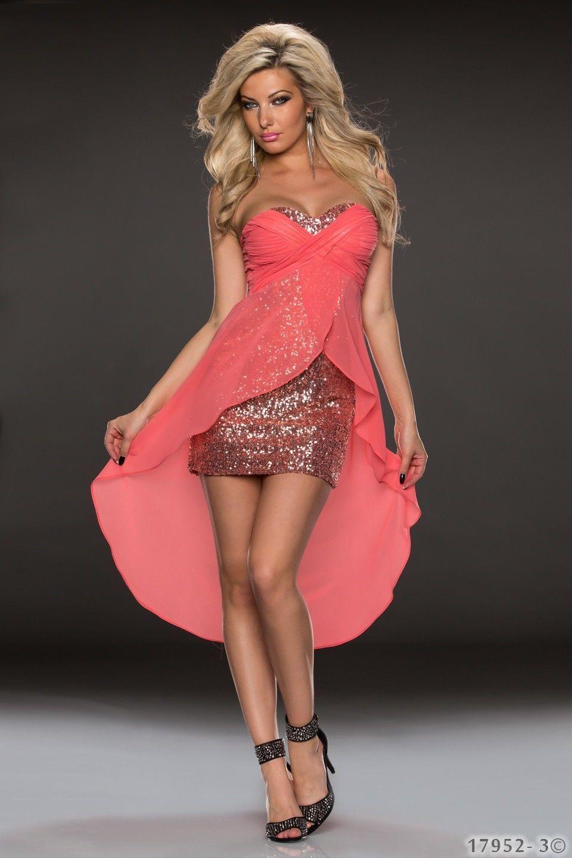 Chiffon Vokuhila Kleid Pailletten Cocktailkleid High Low Dress ...
