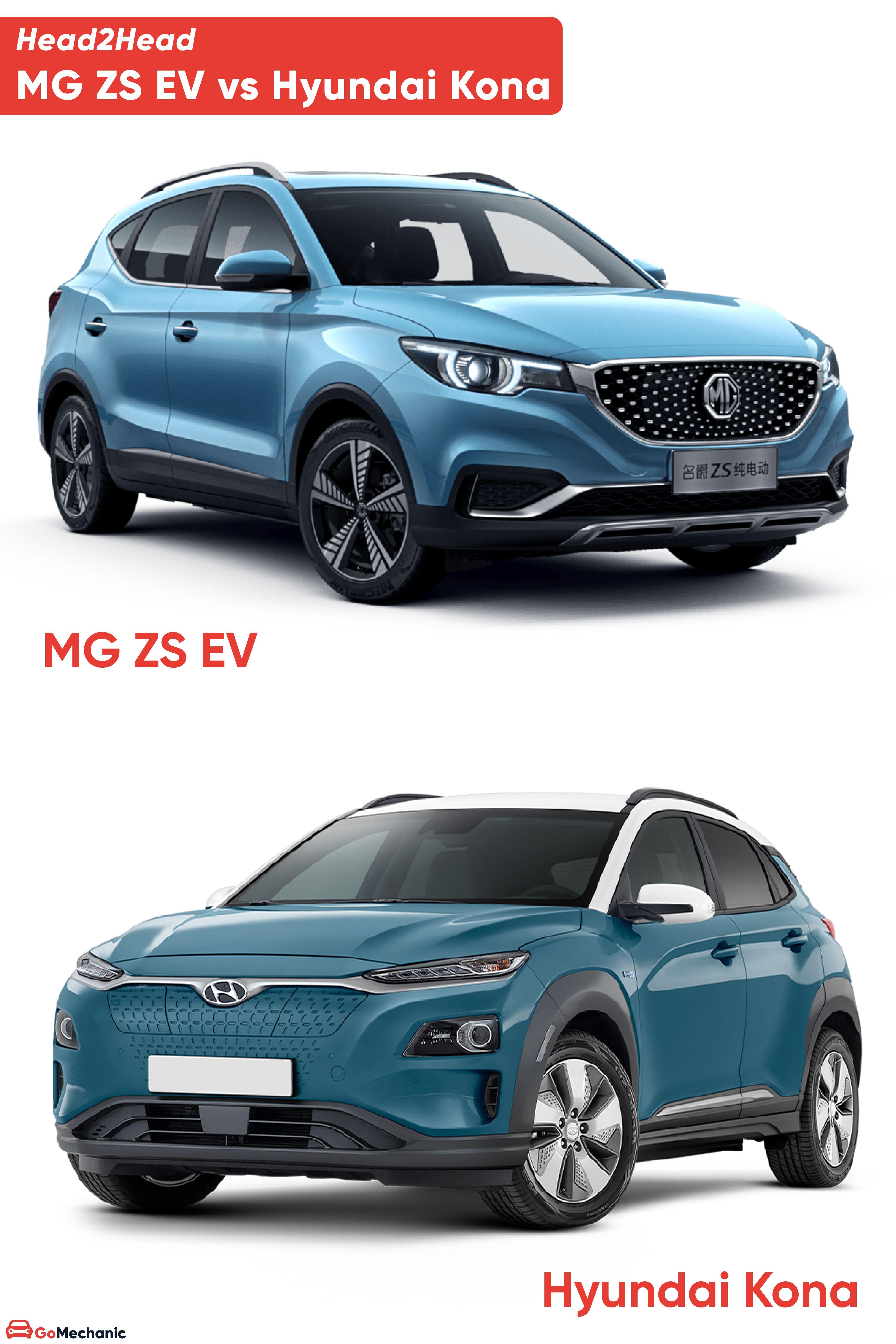 Hyundai Kona Vs Mg Zs Ev Head To Head In 2020 Hyundai Electric Cars In India Best Electric Car