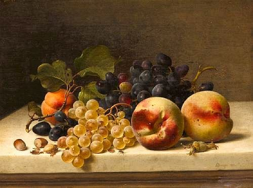 Johann Wilhelm Preyer  Still Life with Peaches, Grapes and Hazelnuts    1871