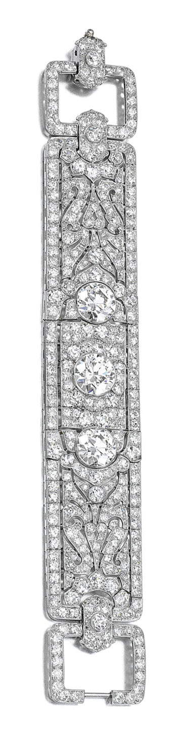 DIAMOND BRACELET, CIRCA #1925.  Persian design #Antique