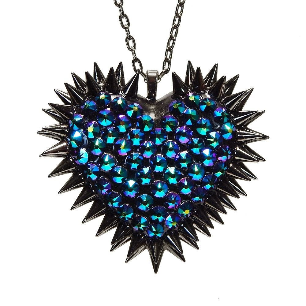 """Xirius"" Spiked & Pavèd Heart Necklace in Dragonfly"