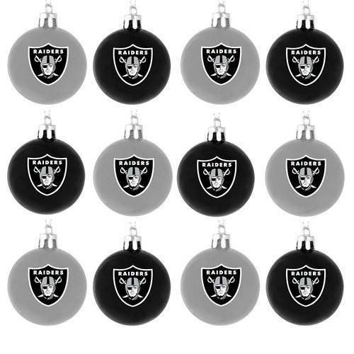 Oakland Raiders Christmas Ornaments.Oakland Raiders Nfl 12 Pack Plastic Ball Ornament Set In