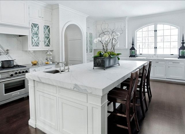 Kitchen Island Ideas. Kitchen Island Is A 2cm Carrera White Marble Island.  The Edge Is A Mitered Edge. #Kitchen #KitchenIsland | Kitchens | Pinterest  ...