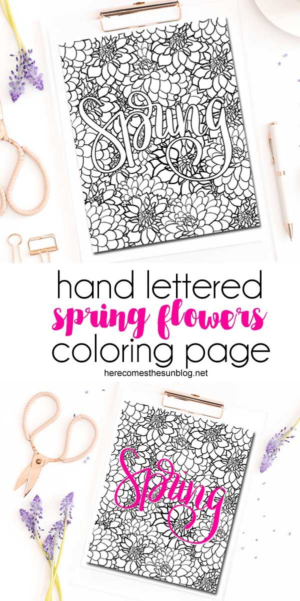 Spring Flowers Coloring Page for Adults | Color pages for adults ...