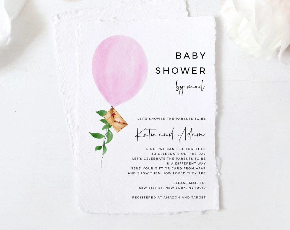 Baby Shower By Mail Template Social Distancing Pink Balloon Baby Shower Invitation Long Distance Baby Shower Template Templett B36 Baby Shower Invitation Message Virtual Baby Shower Invitation Baby Shower Templates