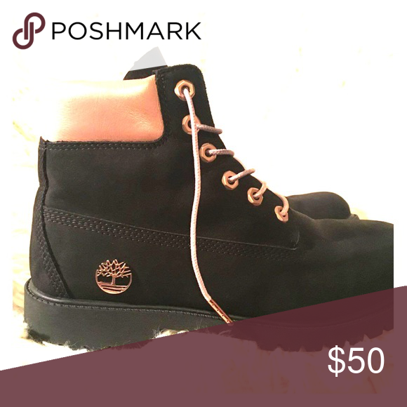 black and rose gold timberlands