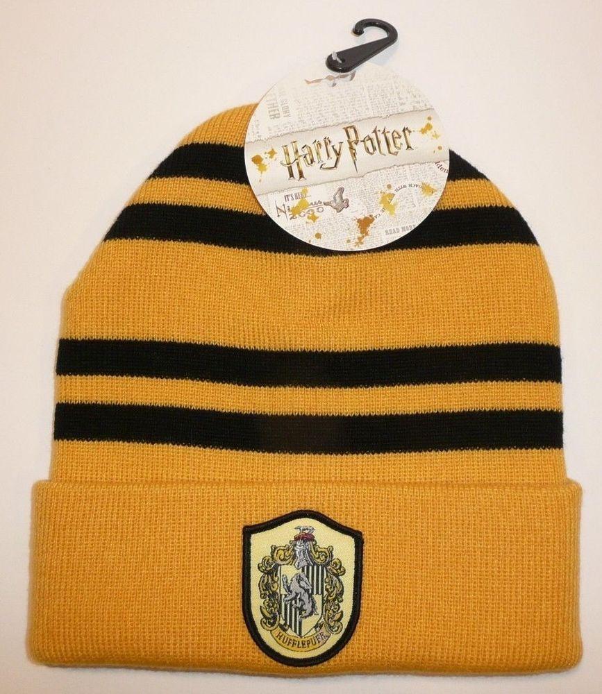 d34bb465b16 Hufflepuff - Harry Potter Beanie Hat Winter Warm Cosplay House Patch Badger  Cuff  Bioworld  Beanie