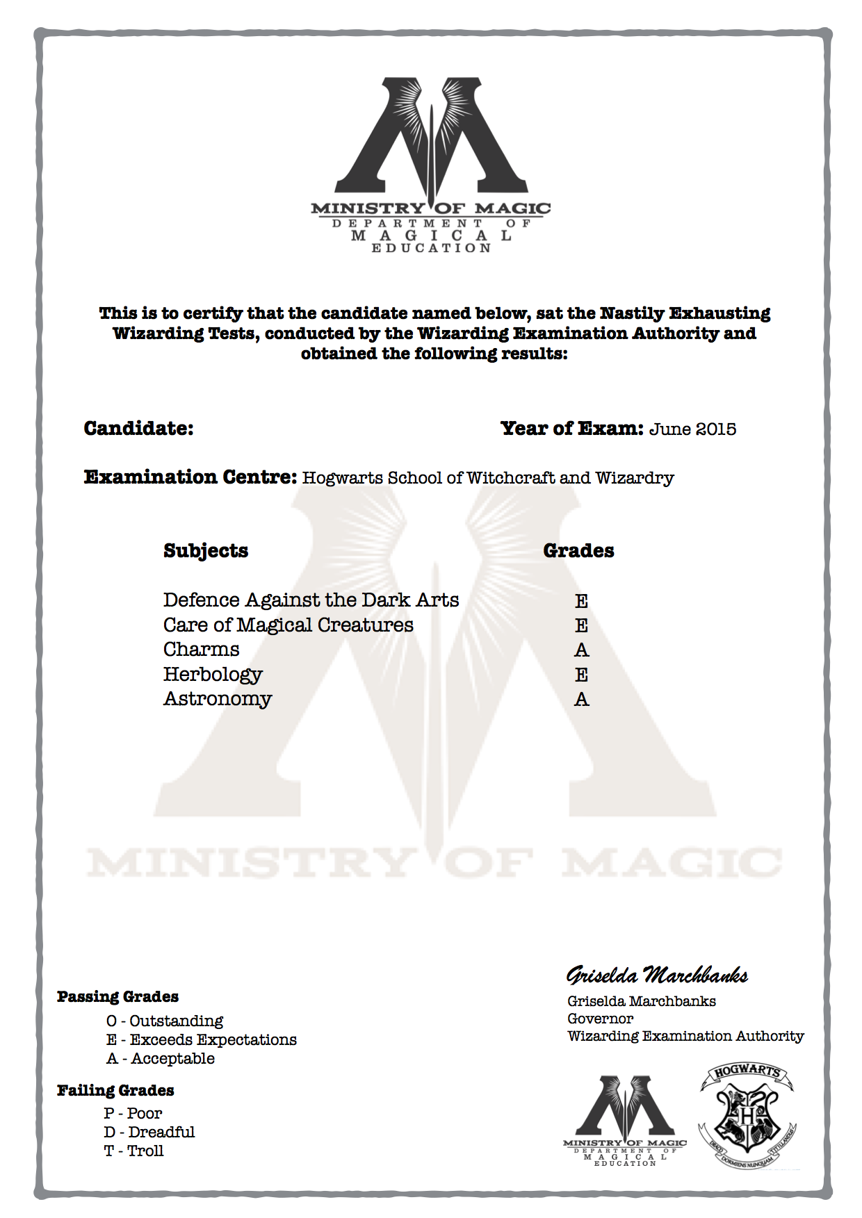 Harry Potter N E W T Grade Certificate Blank Version Available