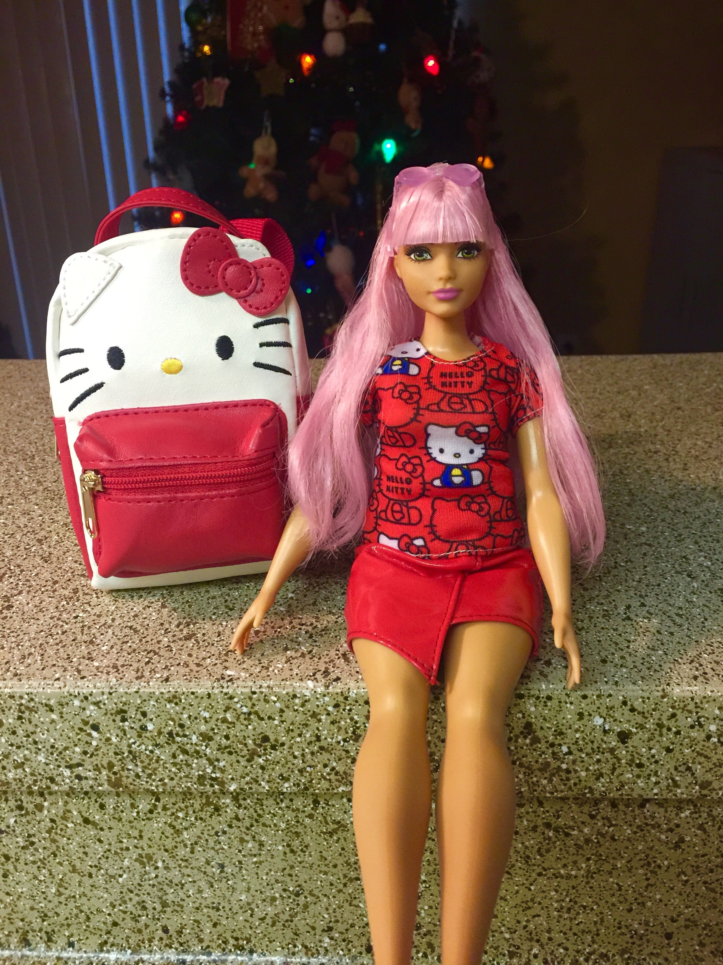 My Barbie In Her Hello Kitty Outfit And Matching Kitty