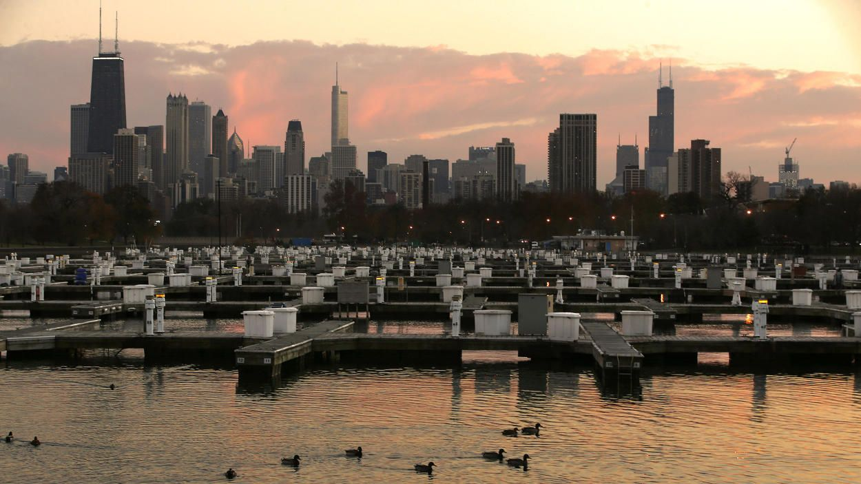 Harbor sunset: Diversey Harbor, after the boats have gone to dry dock. Phil Velasquez