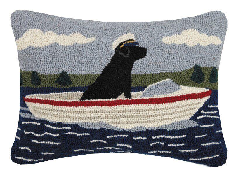 Lilian Boating Lab Hook Wool Lumbar Pillow Wool Pillows Pillows Hooked Pillow