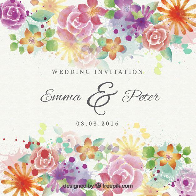 Watercolor Beautiful Flowers Wedding Invitation Free Vector Free