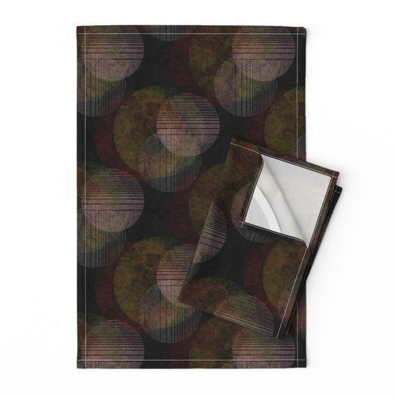 Abstract Circles Tea Towels (Set of 2) - Dark Circles by gaiamarfurt - Minimal Dots  Modernism Dark #darkcircle