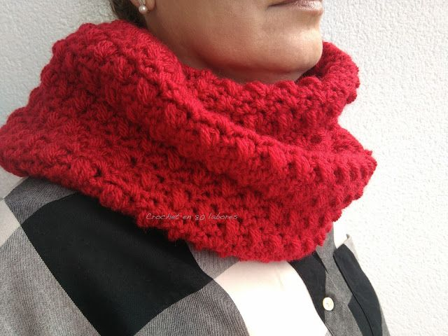 Crochet en 80 labores: Bufanda infinita en color rojo | Paz y amor ...
