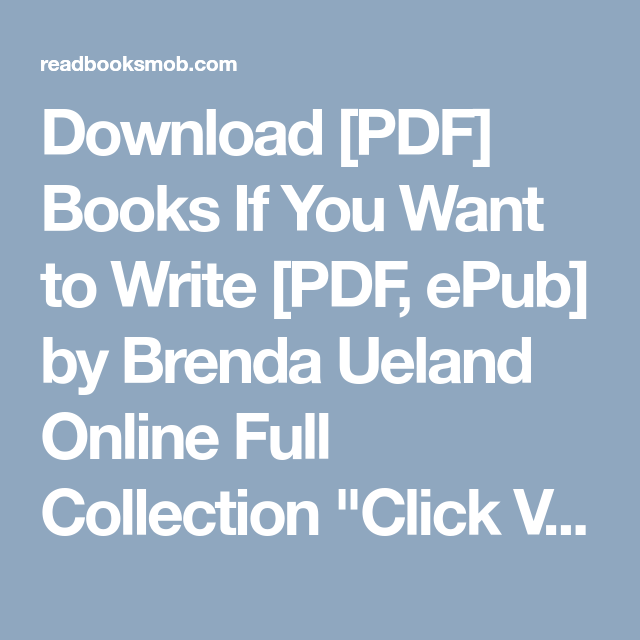 If You Want To Write Brenda Ueland Pdf