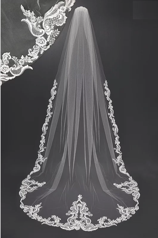 Regal White Lace Design Cathedral Wedding Veil Cathedral Wedding Veils Wedding Veils Lace Wedding Bridal Veils