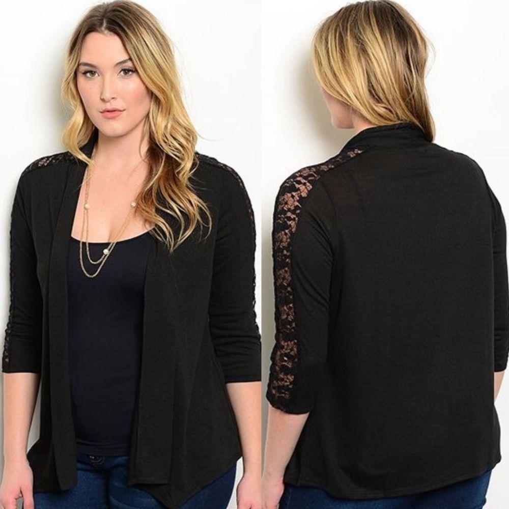 Delirious Women's Plus Size 1X Black Cardigan 3/4 Sleeve Lace Trim ...