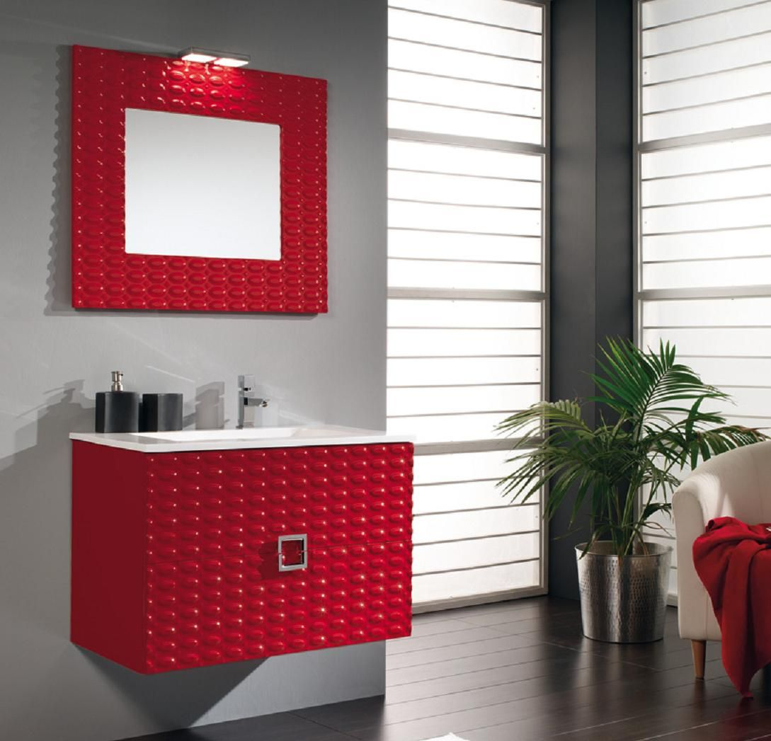 pared roja mueble color wengue | El diseño de los muebles modulares ...