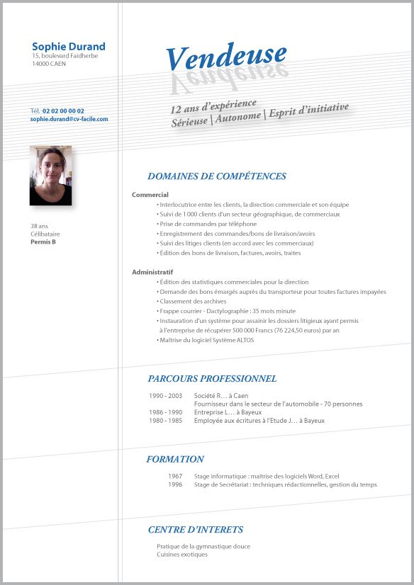 exemple cv de vendeuse