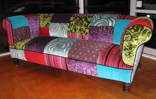 Rolled arm sofa covered in a patchwork sample of our - Upholstered living room chairs sale ...
